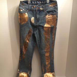 Women's Hannah Bronze Painted Jeans Size 6